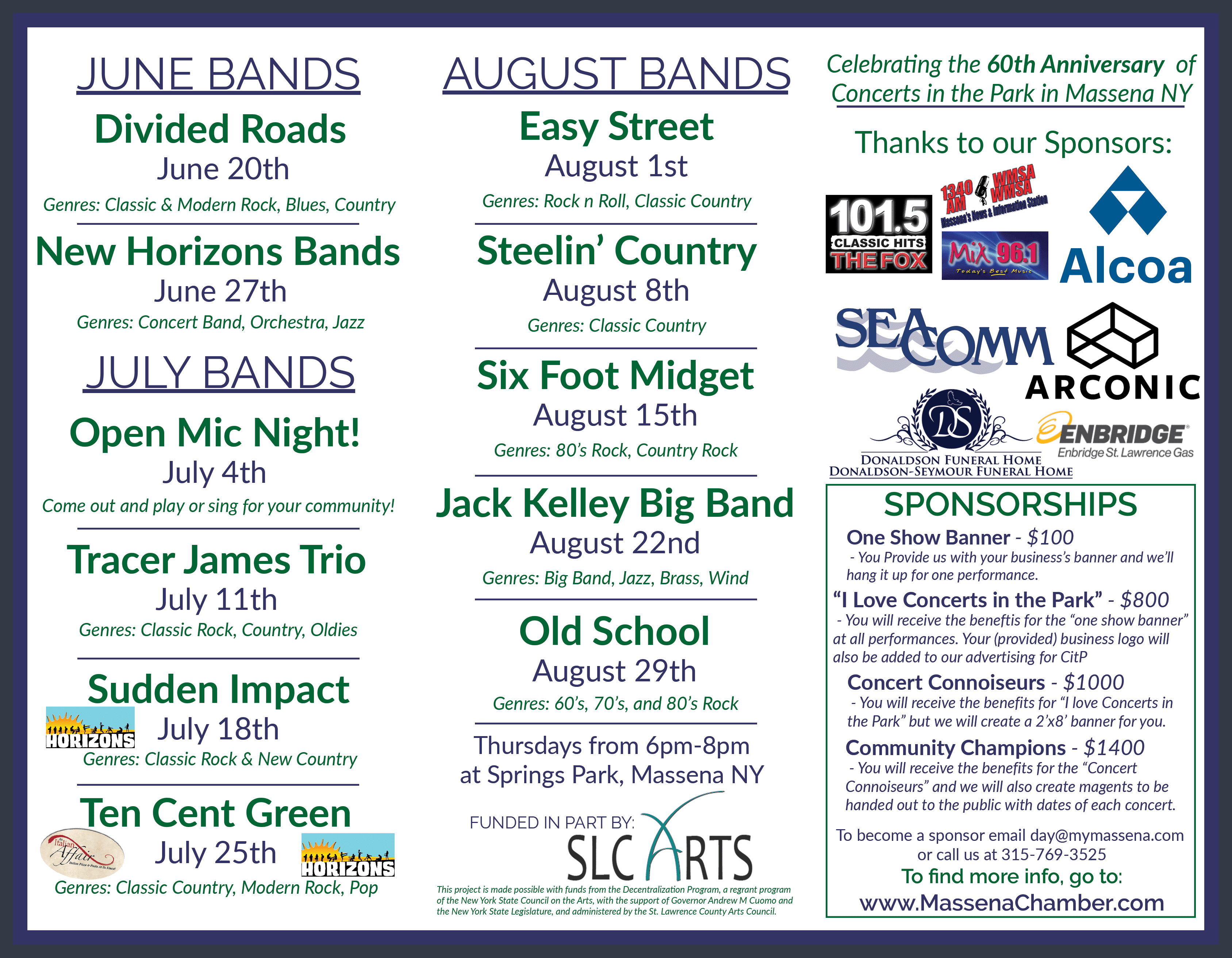 Concerts in the Park 2019 | Greater Massena Chamber Of Commerce